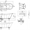Technische Tekening Vrijstaand Bad op pootjes Sacke in Natuurlijke Steen en met traditionele poten in nikkel