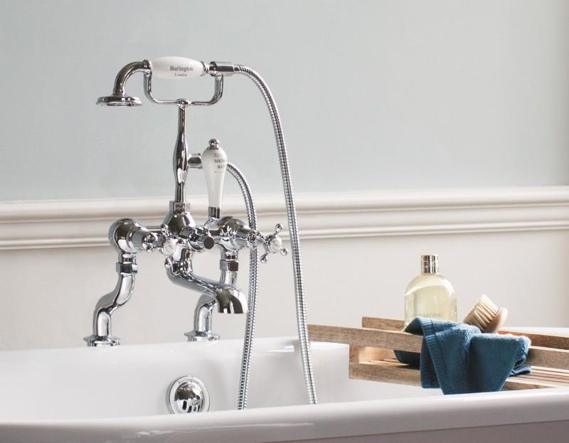 Landelijke Kranen Badkamer : Vrijstaande badkraan met handsproeier klassieke badkamers